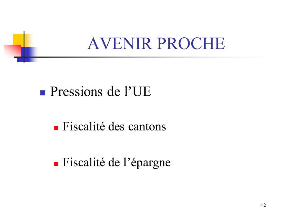 AVENIR PROCHE Pressions de l'UE Fiscalité des cantons