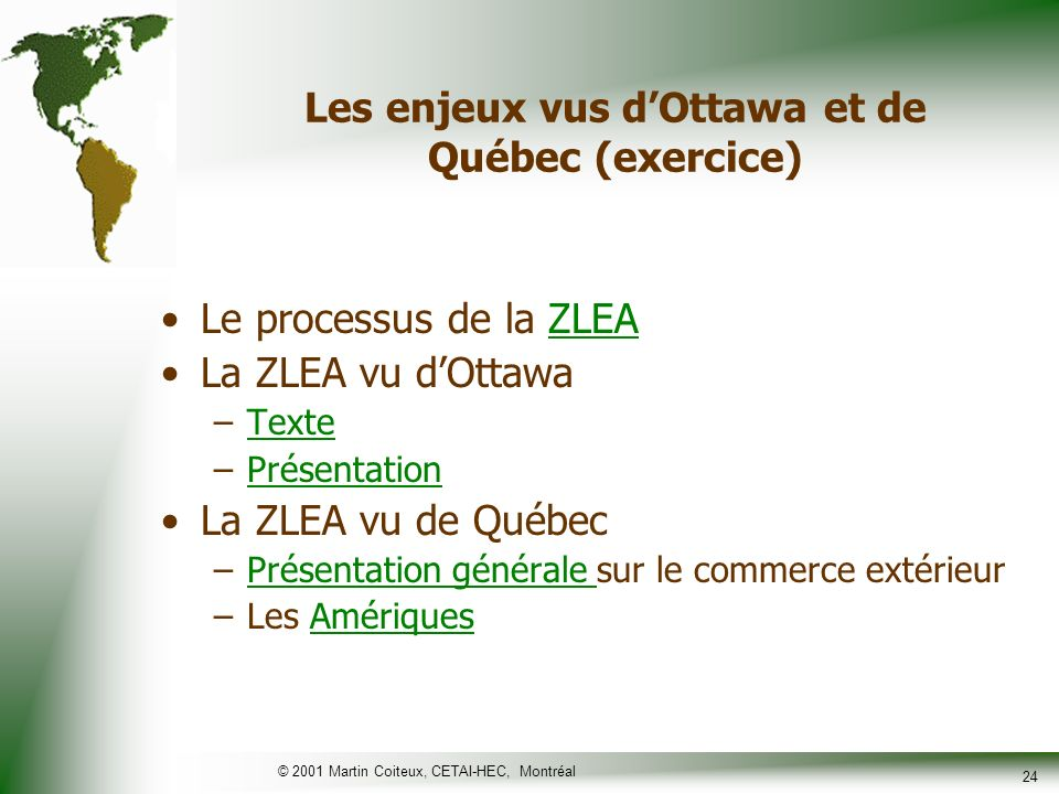 Les enjeux vus d'Ottawa et de Québec (exercice)
