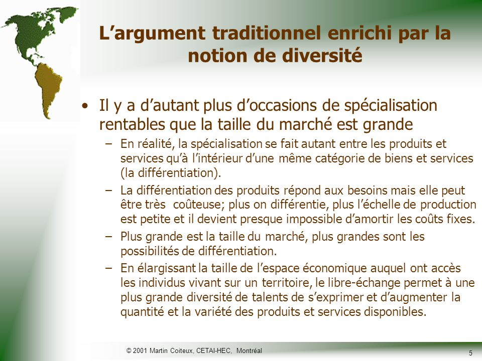 L'argument traditionnel enrichi par la notion de diversité