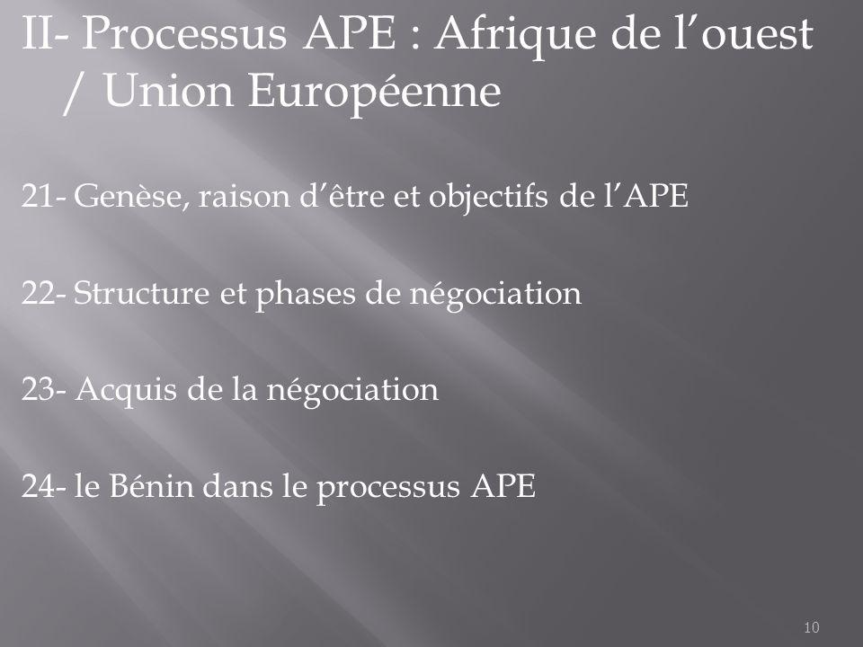 II- Processus APE : Afrique de l'ouest / Union Européenne