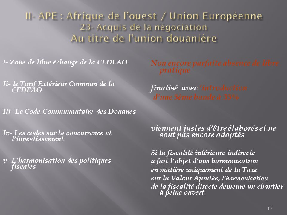 II- APE : Afrique de l'ouest / Union Européenne 23- Acquis de la négociation Au titre de l'union douanière