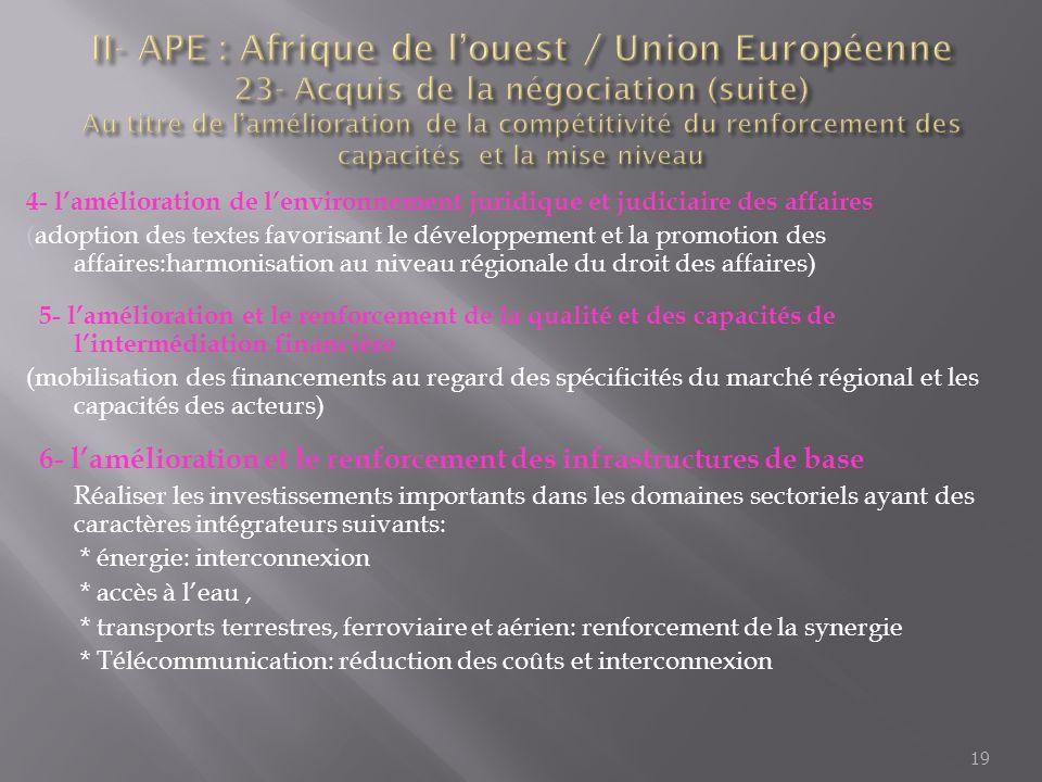 II- APE : Afrique de l'ouest / Union Européenne 23- Acquis de la négociation (suite) Au titre de l'amélioration de la compétitivité du renforcement des capacités et la mise niveau