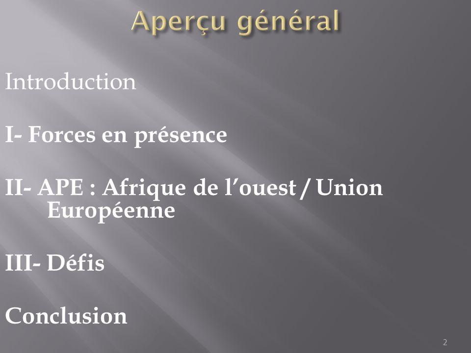 Aperçu général Introduction I- Forces en présence II- APE : Afrique de l'ouest / Union Européenne III- Défis Conclusion