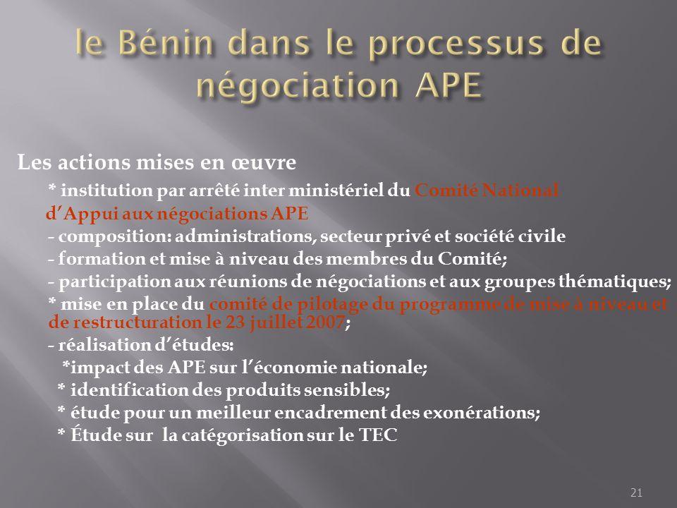 le Bénin dans le processus de négociation APE