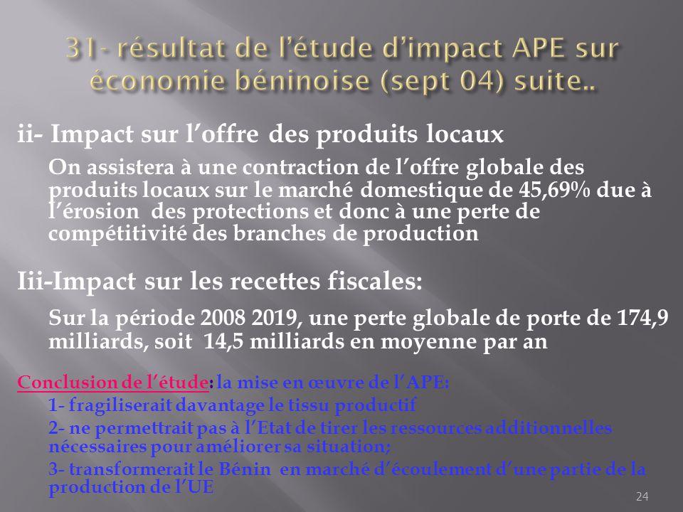 31- résultat de l'étude d'impact APE sur économie béninoise (sept 04) suite..
