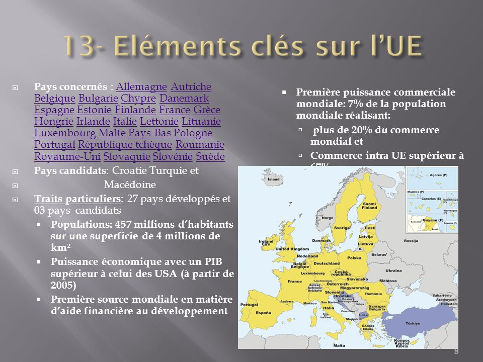13- Eléments clés sur l'UE