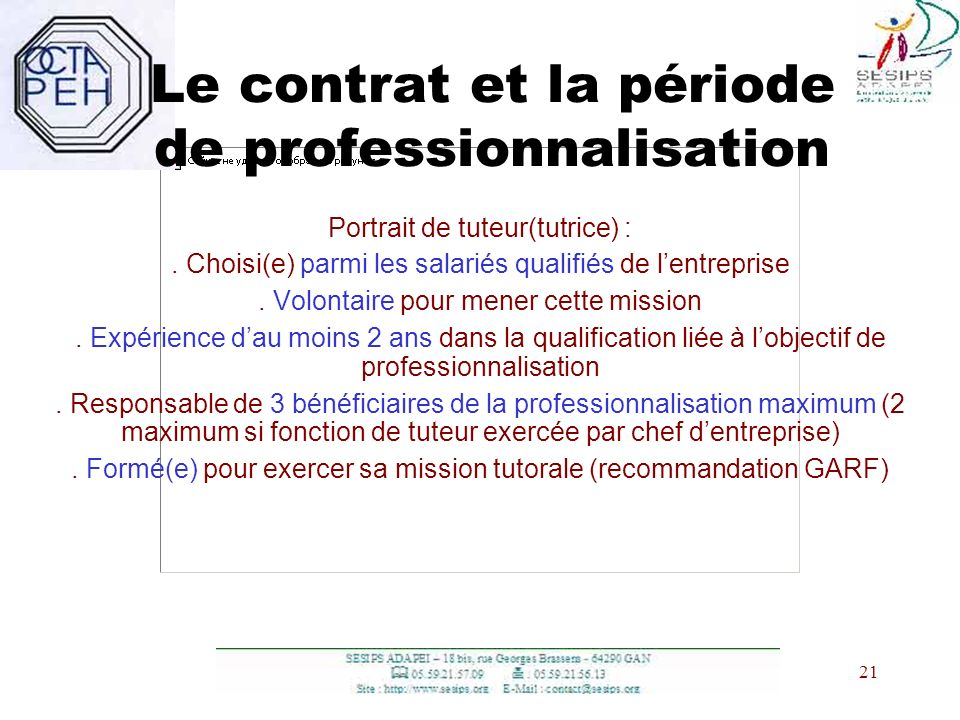 Le contrat et la période de professionnalisation