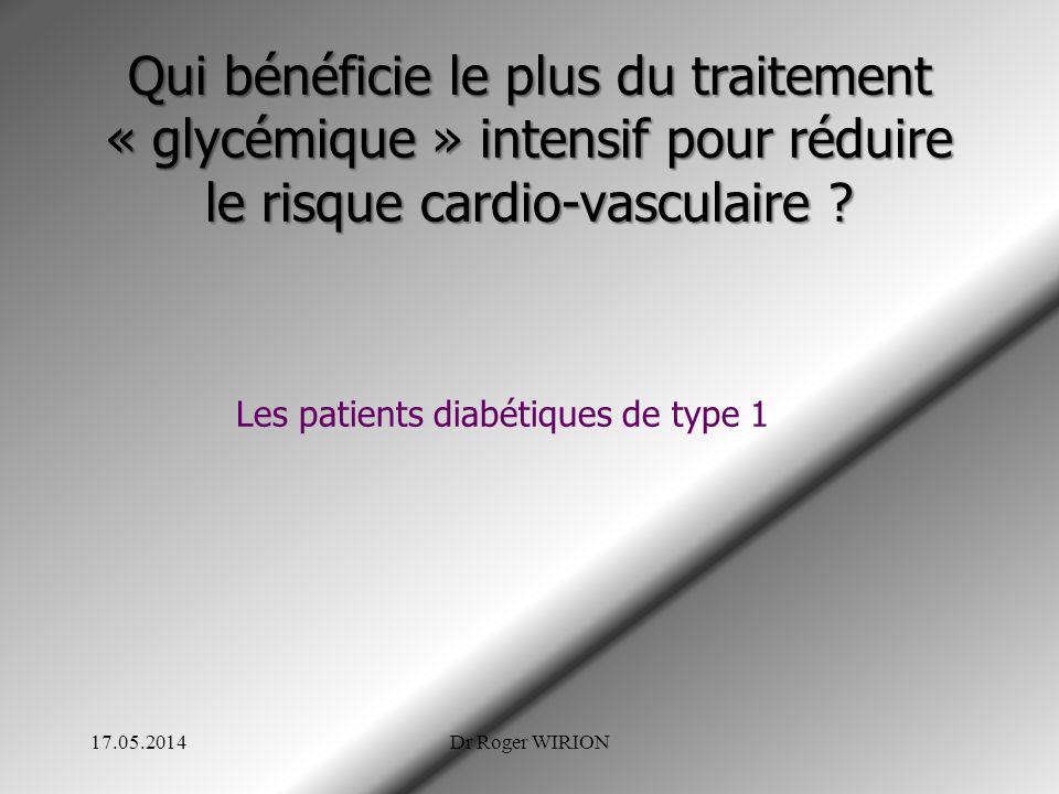 Qui bénéficie le plus du traitement « glycémique » intensif pour réduire le risque cardio-vasculaire