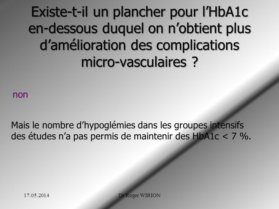 Existe-t-il un plancher pour l'HbA1c en-dessous duquel on n'obtient plus d'amélioration des complications micro-vasculaires