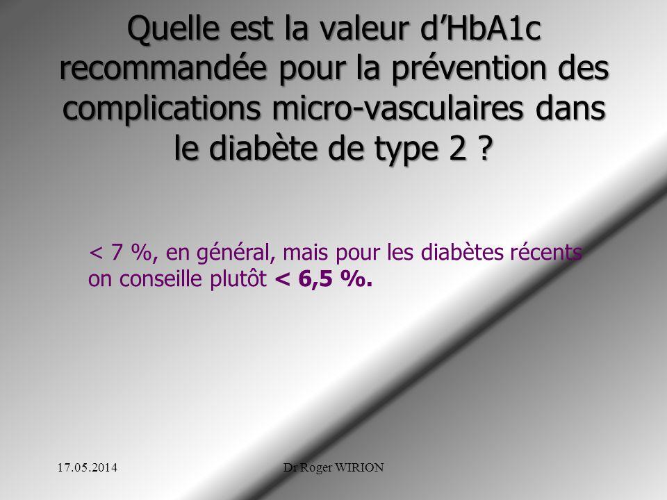 Quelle est la valeur d'HbA1c recommandée pour la prévention des complications micro-vasculaires dans le diabète de type 2