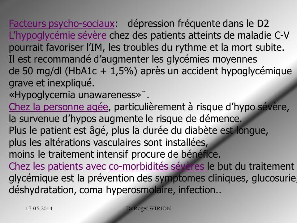 Facteurs psycho-sociaux: dépression fréquente dans le D2