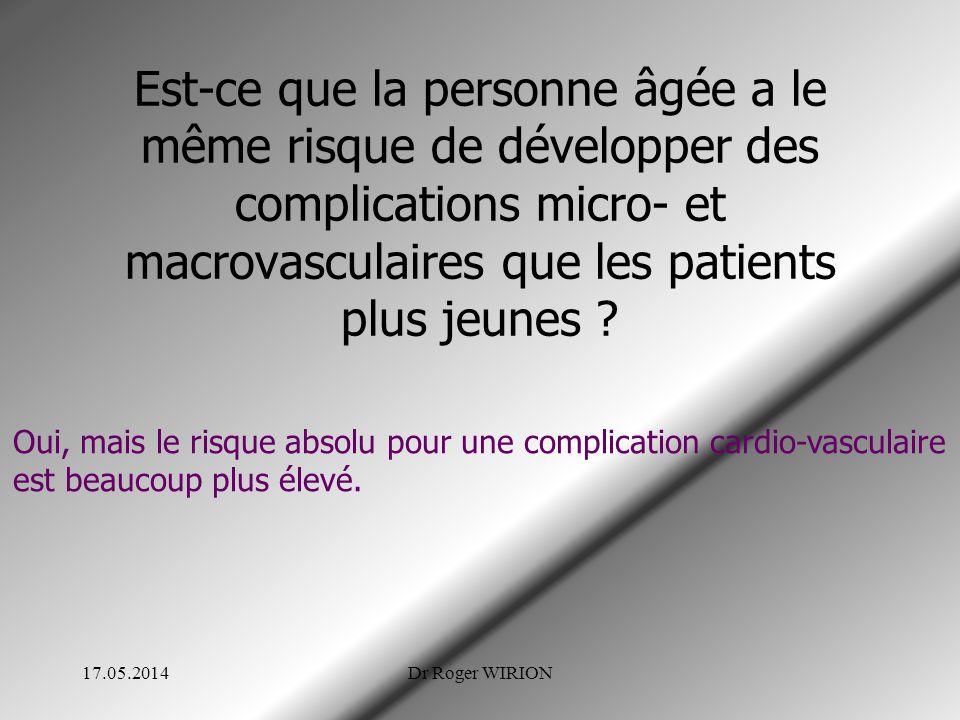 Est-ce que la personne âgée a le même risque de développer des complications micro- et macrovasculaires que les patients plus jeunes