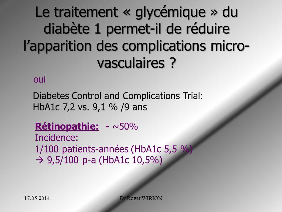 Le traitement « glycémique » du diabète 1 permet-il de réduire l'apparition des complications micro-vasculaires