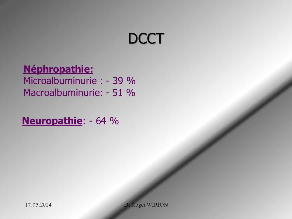 DCCT Néphropathie: Microalbuminurie : - 39 % Macroalbuminurie: - 51 %