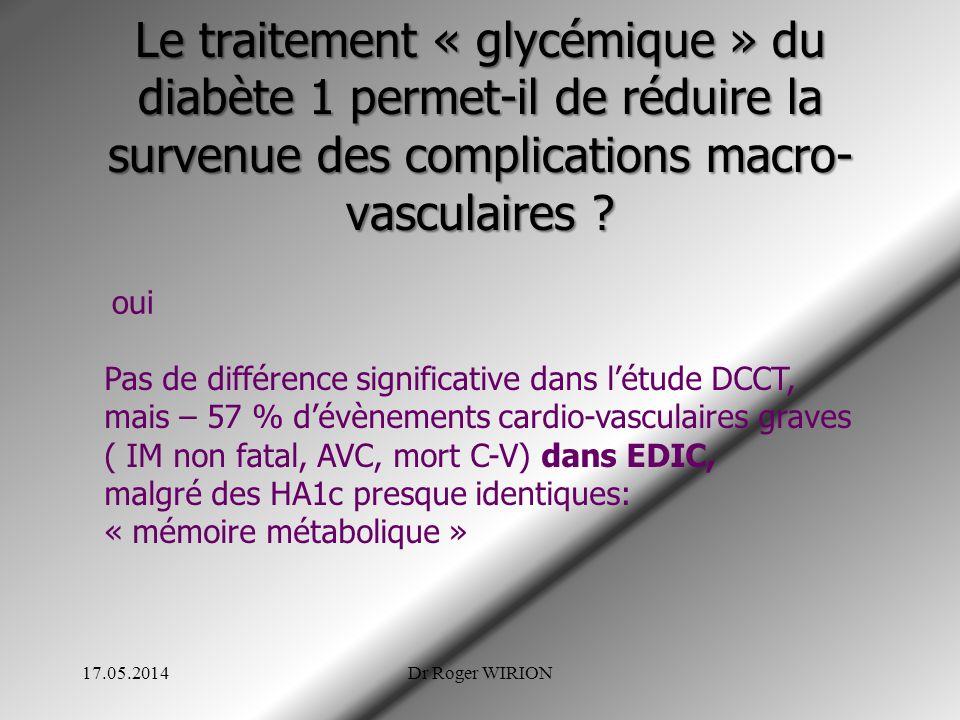 Le traitement « glycémique » du diabète 1 permet-il de réduire la survenue des complications macro-vasculaires