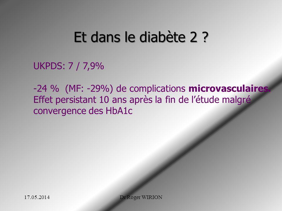 Et dans le diabète 2 UKPDS: 7 / 7,9%