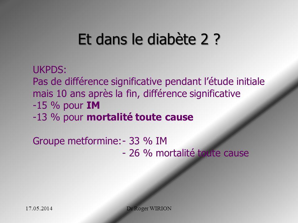 Et dans le diabète 2 UKPDS: