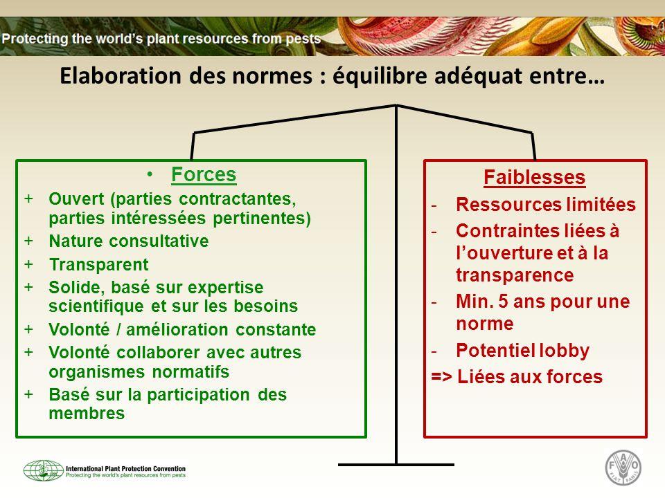 Elaboration des normes : équilibre adéquat entre…