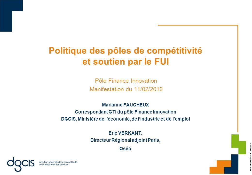 Politique des pôles de compétitivité et soutien par le FUI