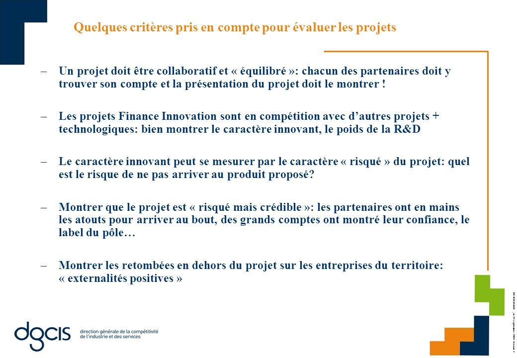 Quelques critères pris en compte pour évaluer les projets