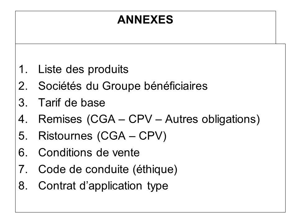 ANNEXES Liste des produits. Sociétés du Groupe bénéficiaires. Tarif de base. Remises (CGA – CPV – Autres obligations)
