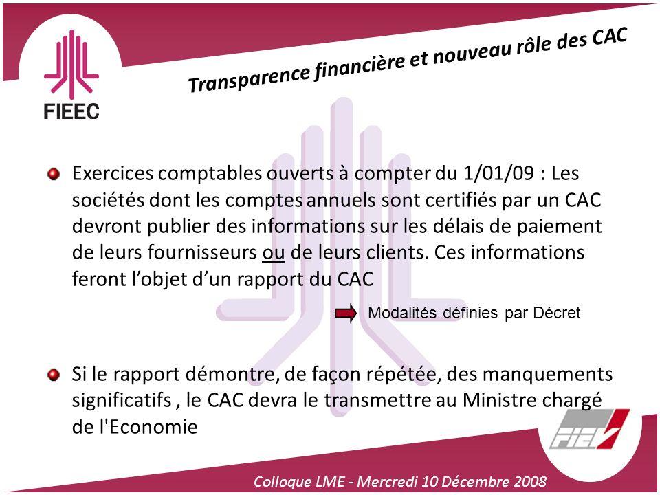 Transparence financière et nouveau rôle des CAC
