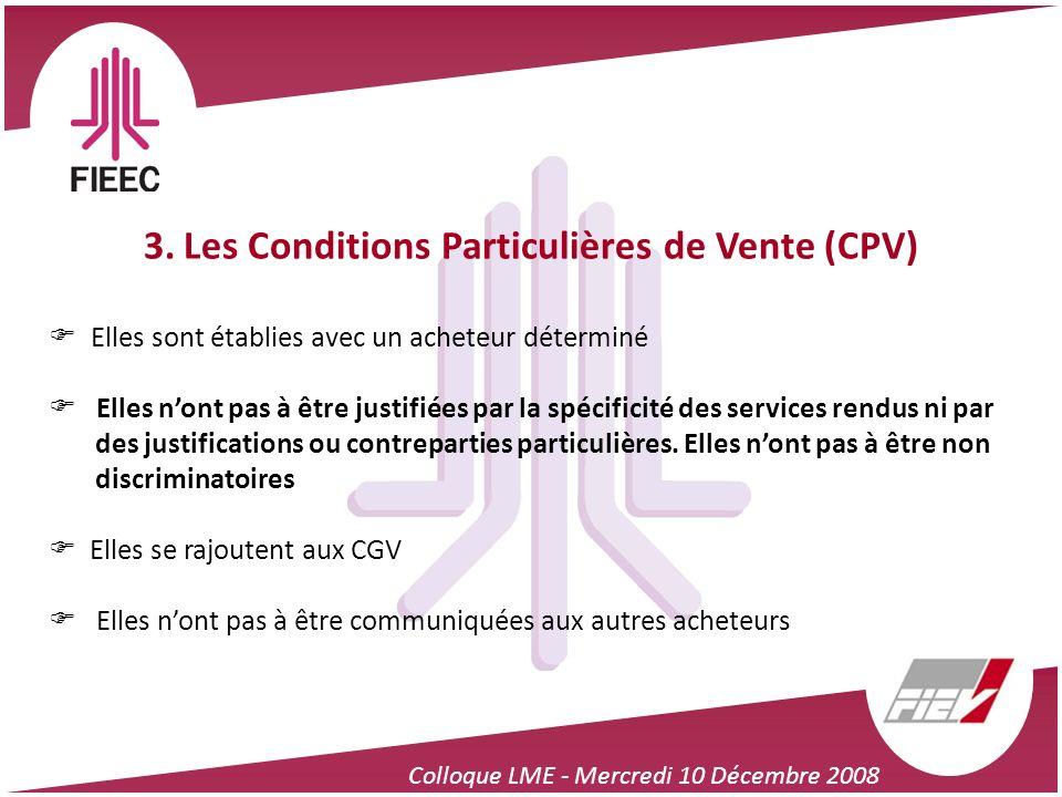 3. Les Conditions Particulières de Vente (CPV)
