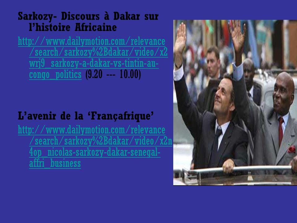 Sarkozy- Discours à Dakar sur l'histoire Africaine