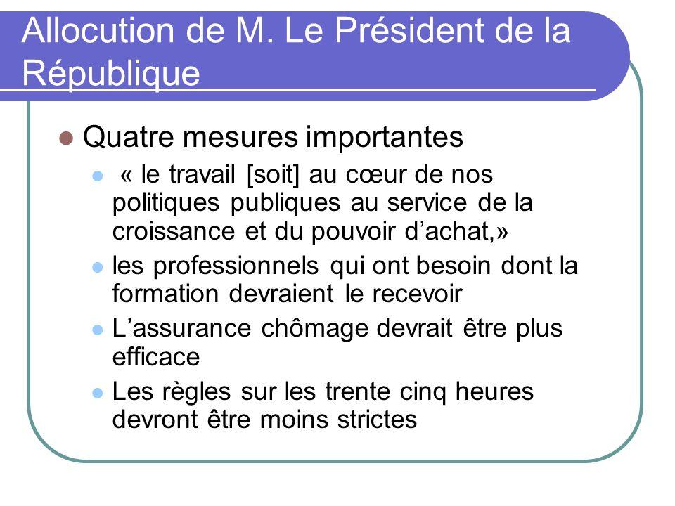 Allocution de M. Le Président de la République