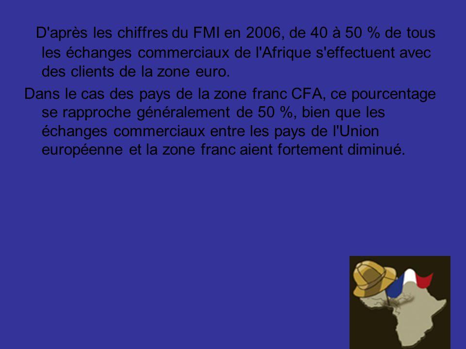 D après les chiffres du FMI en 2006, de 40 à 50 % de tous les échanges commerciaux de l Afrique s effectuent avec des clients de la zone euro.