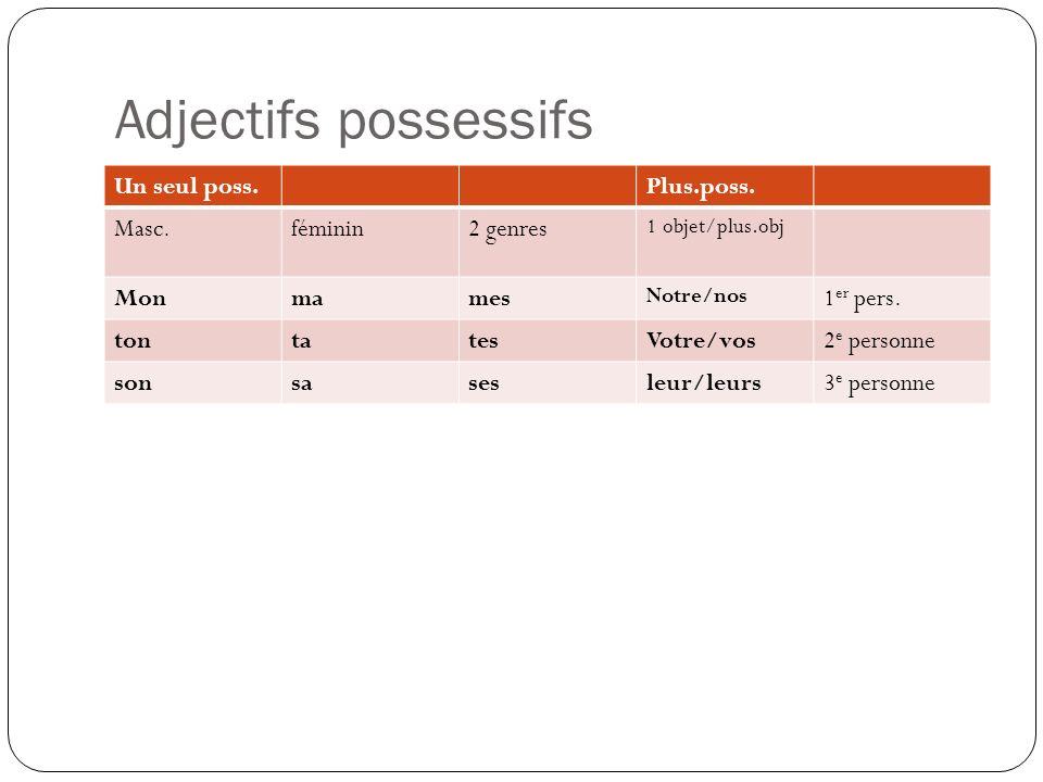 Adjectifs possessifs Un seul poss. Plus.poss. Masc. féminin 2 genres