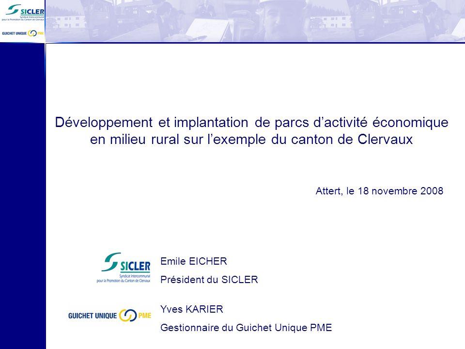Développement et implantation de parcs d'activité économique