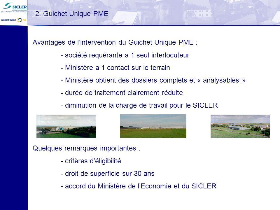 2. Guichet Unique PME Avantages de l'intervention du Guichet Unique PME : - société requérante a 1 seul interlocuteur.