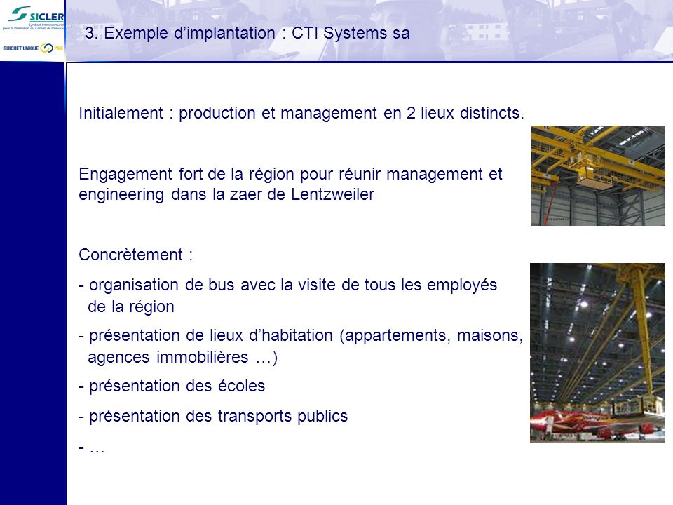 3. Exemple d'implantation : CTI Systems sa