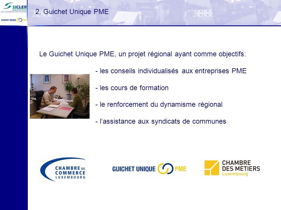 2. Guichet Unique PME Le Guichet Unique PME, un projet régional ayant comme objectifs: les conseils individualisés aux entreprises PME.
