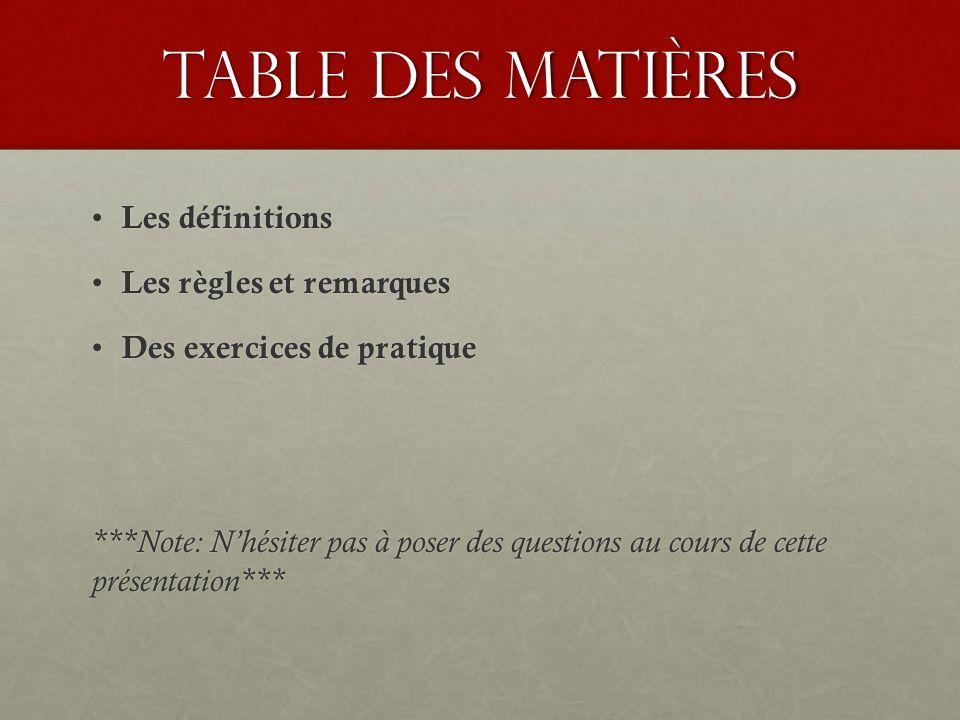 Table des matières Les définitions Les règles et remarques