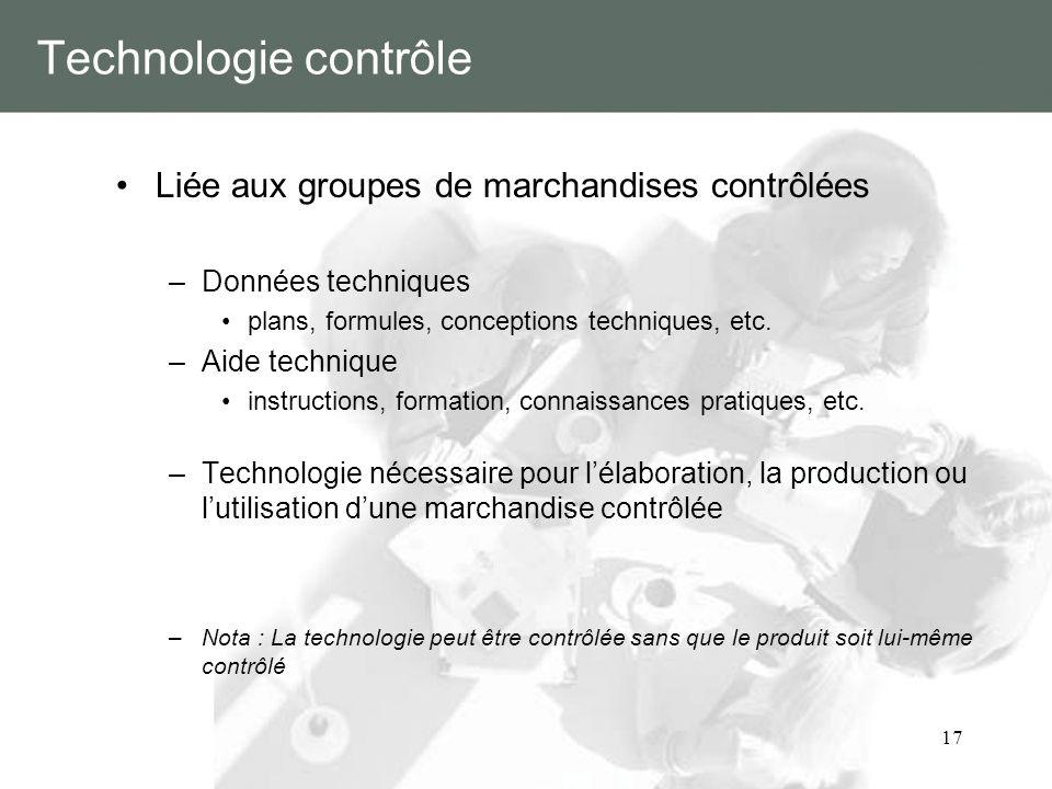 Technologie contrôle Liée aux groupes de marchandises contrôlées