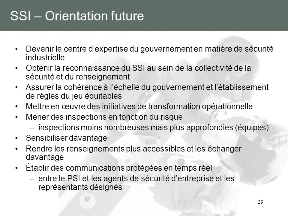 SSI – Orientation future