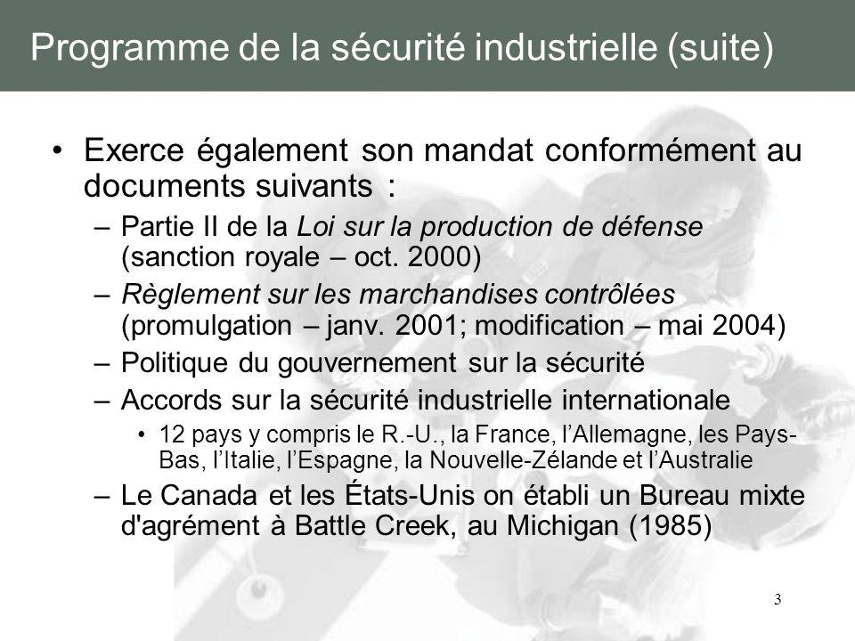 Programme de la sécurité industrielle (suite)