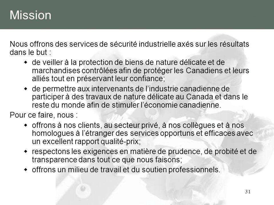Mission Nous offrons des services de sécurité industrielle axés sur les résultats dans le but :