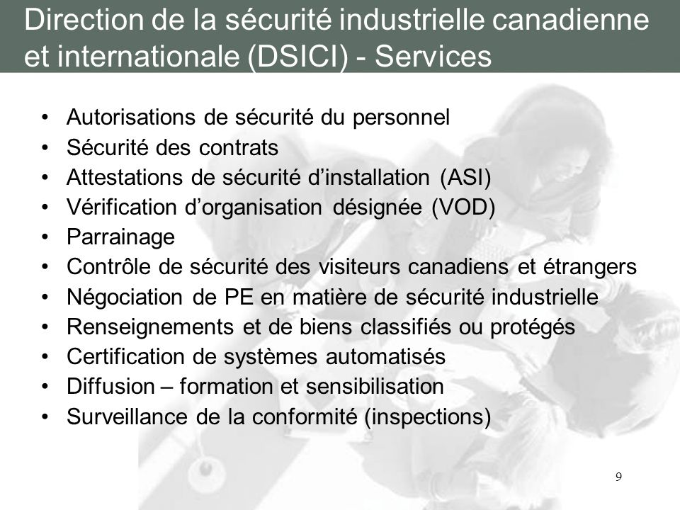 Direction de la sécurité industrielle canadienne et internationale (DSICI) - Services