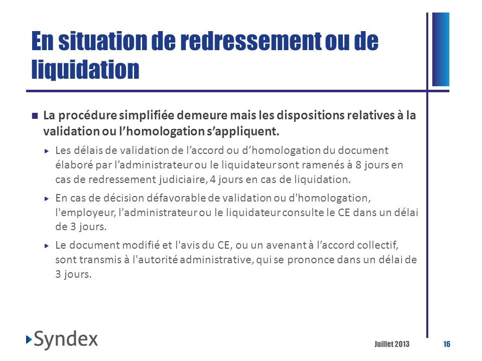 En situation de redressement ou de liquidation