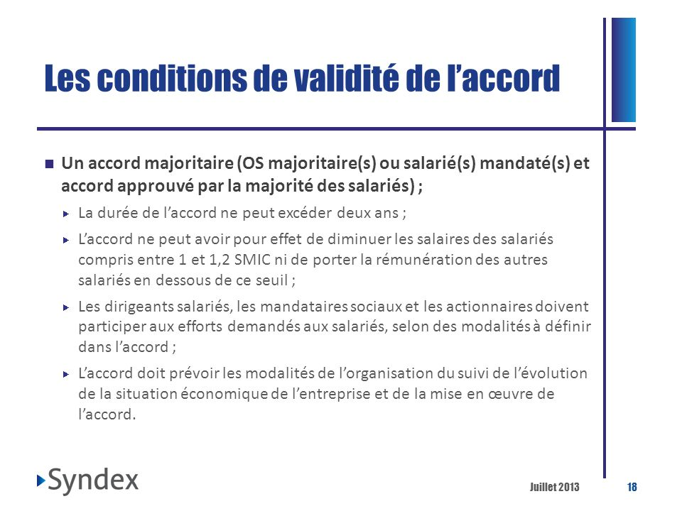 Les conditions de validité de l'accord