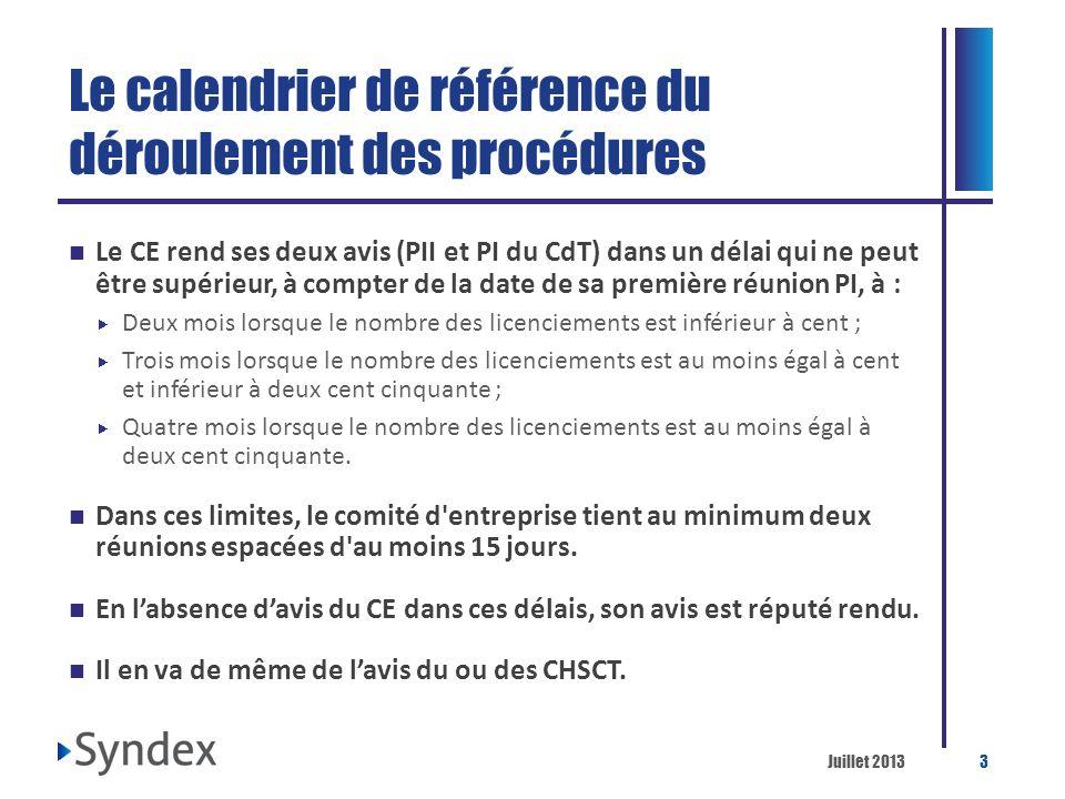 Le calendrier de référence du déroulement des procédures