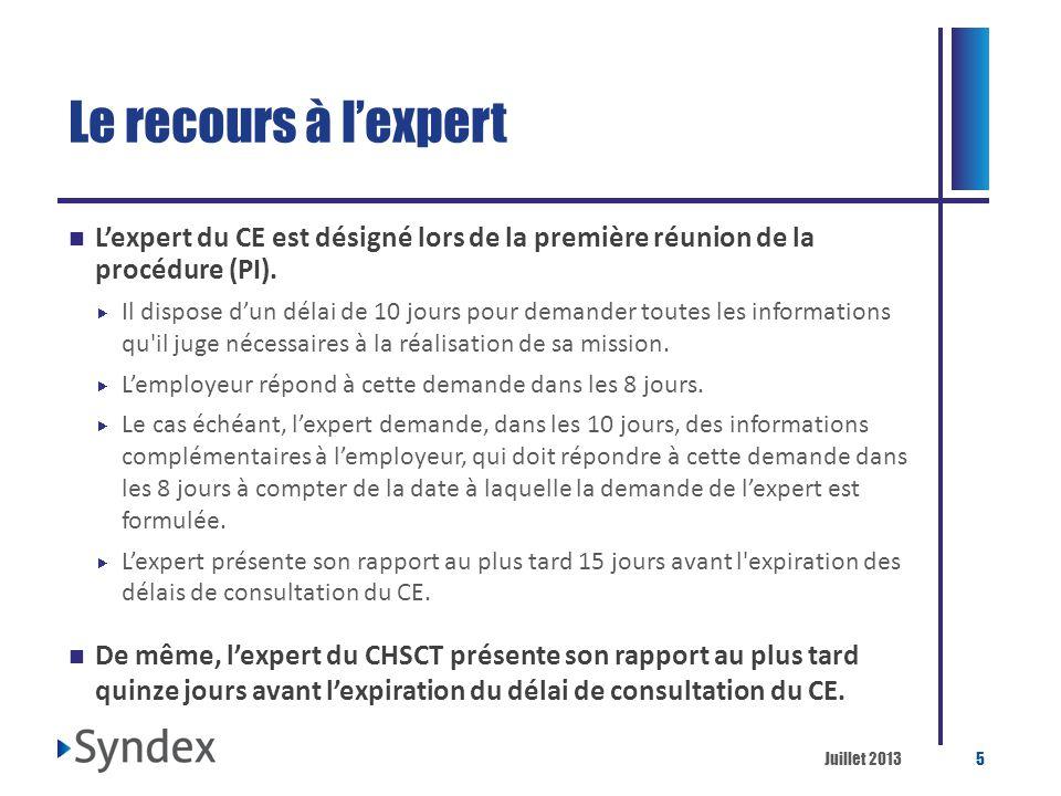 Le recours à l'expert L'expert du CE est désigné lors de la première réunion de la procédure (PI).