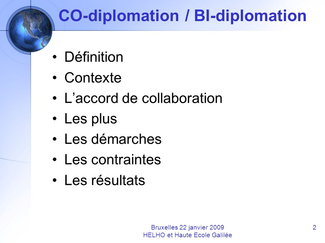 CO-diplomation / BI-diplomation