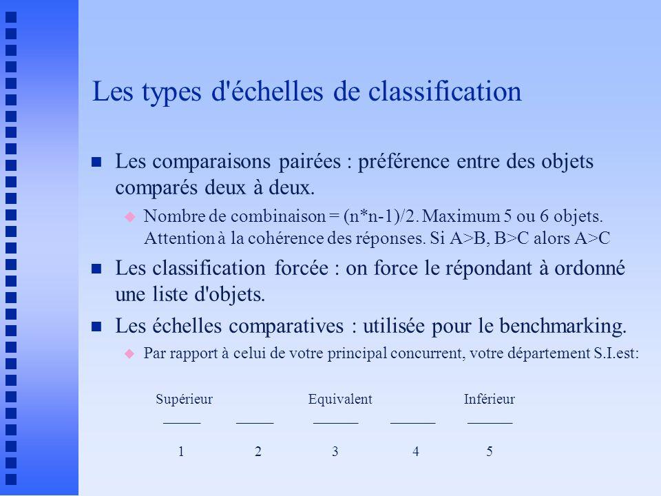Les types d échelles de classification