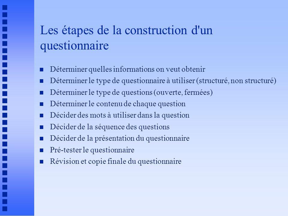 Les étapes de la construction d un questionnaire