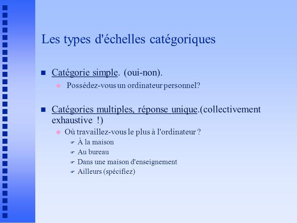Les types d échelles catégoriques