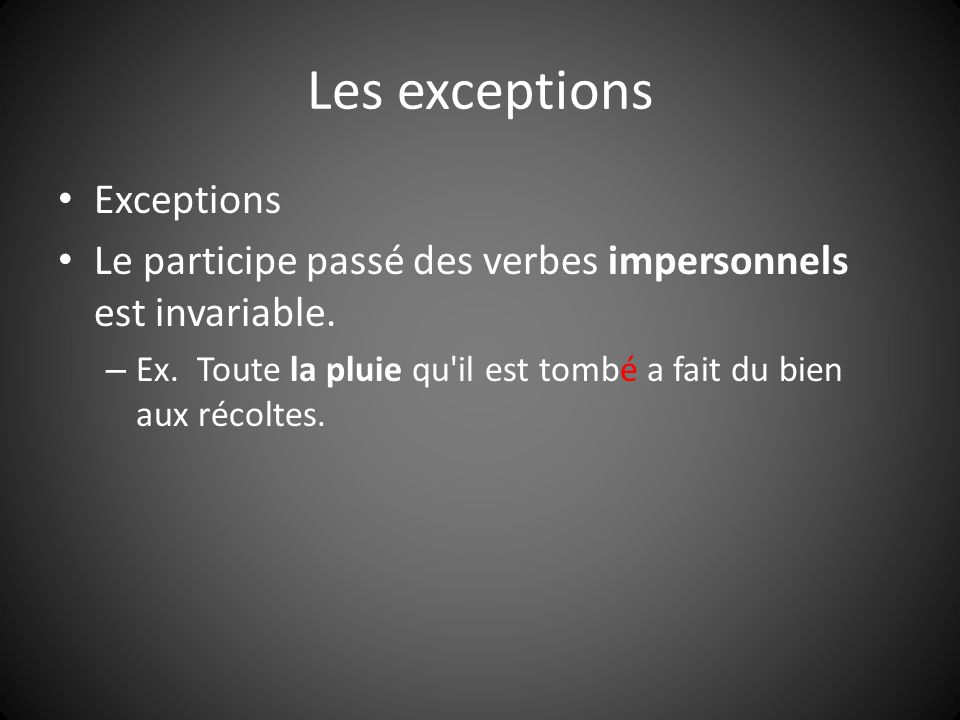 Les exceptions Exceptions